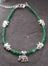Elephant Anklet Ankle Bracelet Jade Gemstone Beads Lucky