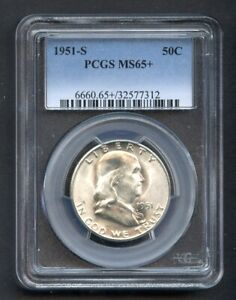 1951-S Franklin 50C Half Dollar Silver PCGS MS65+