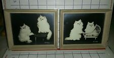 Pair of Bradley R. Currey Persian Cat 1940s Photos Piano Player. Cat in Cradle