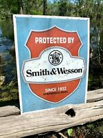 Smith & Wesson Protected By Vintage Metal Tin Sign Wall Decor Garage Shop Home
