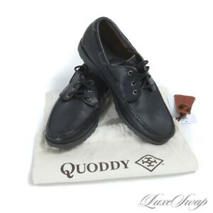 NWOB Quoddy Made in Maine USA Black Grained Leather Unlined Moccasin Shoes 11 NR