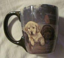 Lang- On The Fence Labrador Retriever Puppies Ceramic Coffee Mug Jim Lamb 2011
