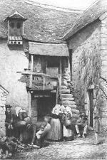 OLD ENGLAND VILLAGE SHOE STORE COBBLER SHOP ~ 1881 Original Art Print ETCHING