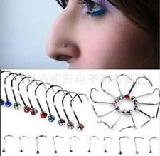 Lots 20X Colorful Piercing Jewelry Rhinestone Studs Screw Nose Ring Bone Bar Pin
