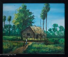 Beautiful Vintage Eastern Asian Landscape Oil Painting Illegibly Signed Vietnam?