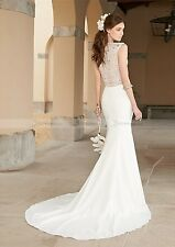 Beautiful White Satin Marmaid  Wedding Bridal Prom  Dress With Beaded Size 8