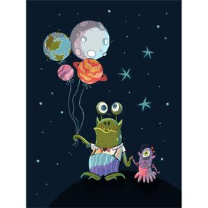 Aliens Space Planet Balloons Canvas Art Print