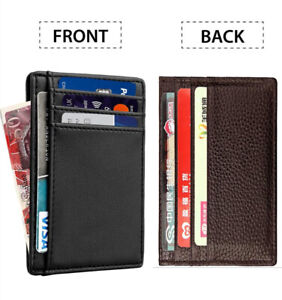 Genuine Leather Unisex Slim Credit Card Case Holder and Note Compartment