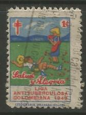 STAMPS-COLOMBIA. 1943. Christmas - 1c Anti T.B. Charity Poster Stamp. Cancelled.