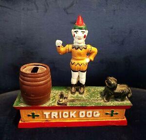 Vintage Cast Iron Trick Dog Mechanical Piggy Bank Clown Joker Metal AS IS