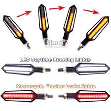 4x Universal LED Turn Signal Flowing Amber Indicator +White DRL +Red Brake Light