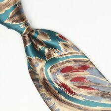 Oscar de la Renta Couture Cravate Soie Vert Marron Paisley Rouge Imprimé Large