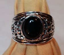 Native American Inspired Silver and Onyx  Ring, sz. 8