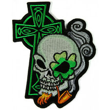 Embroidered Irish Skull Cross Smoking Pipe Iron on Sew on Biker Patch Badge