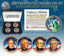 2009 USA COLORIZED PRESIDENTIAL $1 DOLLAR 4 COINS SET Gift Box Certified