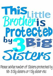 IRON ON TRANSFER SISTER BROTHER MATERNITY PROTECTED (number can change) 12x12cm