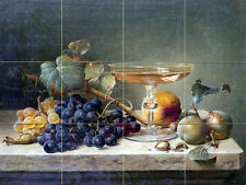 Art Fruit Nuts Glass Mural Tumbled Marble Backsplash Bath Tile #2218