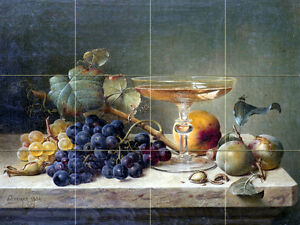 Art Fruit Nuts Glass Mural Tumbled Marble Backsplash Bath Tile #2218
