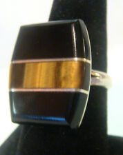 TAXCO Mexico 950 Sterling Silver Unique Ring w/Onyx & Tiger Eye Stones Size 7.5