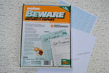 Boise Beware Security Paper - a 10 Pack of (250 Sheets/Ream) or 2,500 TOTAL