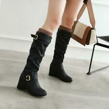 Retro Women Buckle Strap Wedge Heel Round Toe Pleated Knee High Riding Boots New