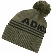 adidas Golf Mens Font Pom Beanie Thermal Warm Winter Hat (Focus Olive)