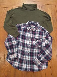 Cherokee XS Boys Lot of 2 shirts- Blue/Red Plaid Flannel & Olive Turtleneck EUC