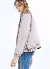 Zara Grey Bomber Silk Summer Jacket L Oversized Kimono Light Blazer Top Cardigan