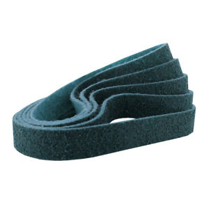 """1/2"""" x 24"""" Surface Conditioning Non Woven Sanding Belts Kit Blue, Fine - 5 PACK"""