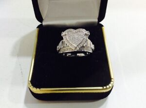 3 ctw diamond Heart,sterling Silver Engagement Ring,size 6