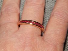 AFRICAN RUBY HALF ETERNITY/STACKABLE RING-SIZE S-1.00CTS-WITH 14K GOLD