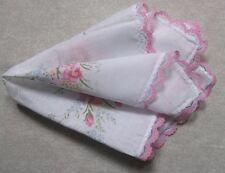 Vintage Handkerchief MENS Hankie Top Pocket Square FLORAL FLOWERS PINK