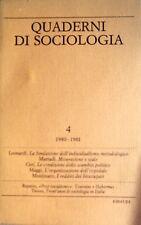 QUADERNI DI SOCIOLOGIA N. 4 1980-1981 GIULIO EINAUDI