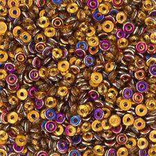 O Bead® 3.8x1mm Topaz Sliperit Czech Glass Ring/Donut Beads - 8.1g (L74/2)