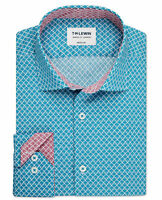 T.M.Lewin Mens Pine Print Slim Fit Teal Single Cuff Shirt