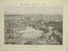 1903 Imprimé Vue De Rome St -PIERRE The Piazza Rois-Mages la Visite Pour Italie