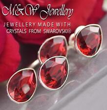 925 Silver Stud Earrings PEAR Fancy Stone Scarlet Crystals From Swarovski®