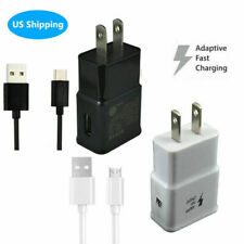 Home Charging Wall Charger & Micro USB Type C Data Cable For Samsung Android US
