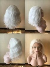 "14"" Fashion Snow white Heat Resistant Hair GlueLess Lace Front Wig Wavy Short"