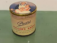 1900s Pears Fullers Earth Baby Powder Full Tin New Old Stock England Advertising