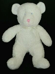 Tri Russ White Teddy Bear Blue Eyes Baby Rattle on Foot Plush Stuffed Toy