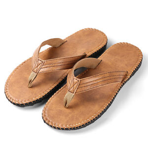 Men's Summer Beach Anti-slip PU Leather Thong Flip Flops Flat Sandals Size 9-10