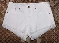 Rue 21 White Denim 5 Pocket Cut-Off Shorts JUNIORS 1 / 2 High Waist, Frayed