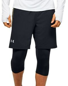 Under Armour Launch SW 2 In 1 Mens Long Running Shorts - Black