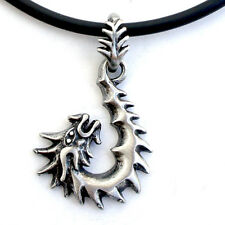 Maori Hei Matau Dragon Serpent Fish Hook Pewter Pendant W Black Pvc Necklace