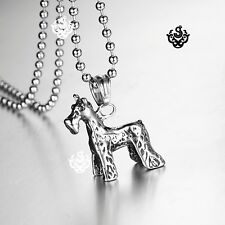 Silver Stainless Steel standing Schnauzer Pendant dog Chain Necklace small cute
