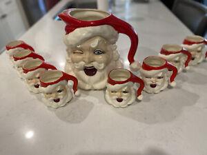 Ceramic Winking Santa Pitcher And Mugs