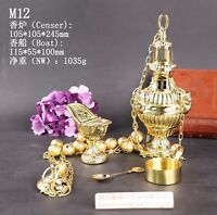 Brass Censer Incense Burner with Bell and Boat for Church M12