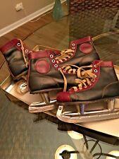 Vintage Black Brown Leather Ice Skates Boys Canadian Flyer Hockey