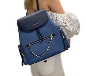 Michael Kors Cargo Abbey Jet Set Item Large Chain Backpack Chambray Blue